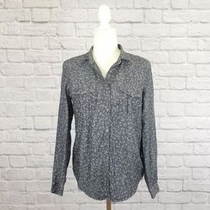 The Kooples gray animal print button front top